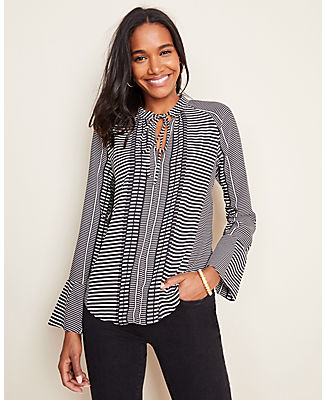 Ann Taylor MIXED STRIPE TIE NECK FLARE CUFF BLOUSE