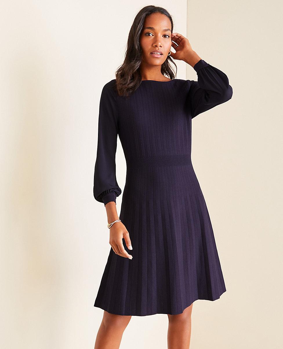 Mixed Media Flare Sweater Dress