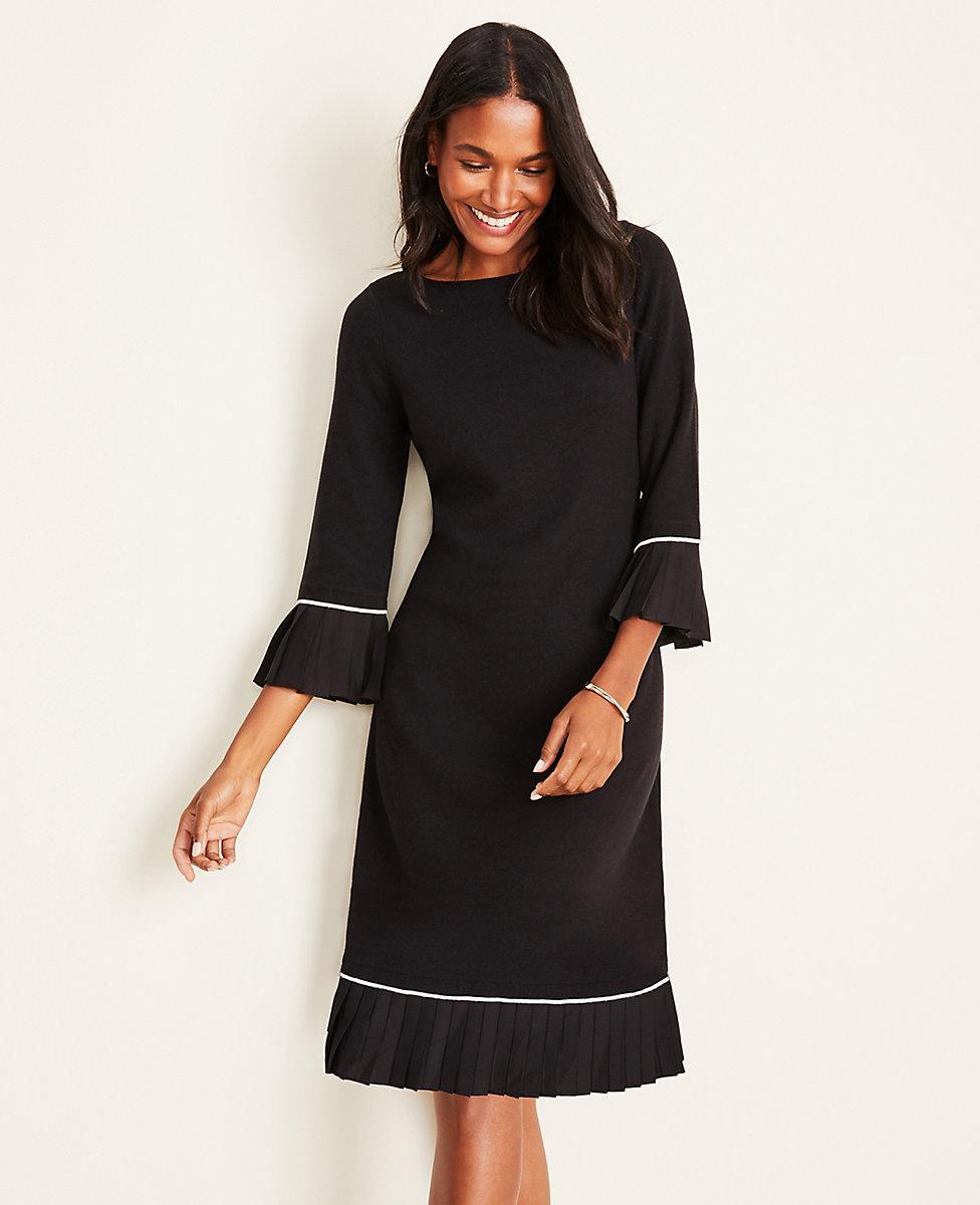 Pleated Trim Flare Sweater Dress
