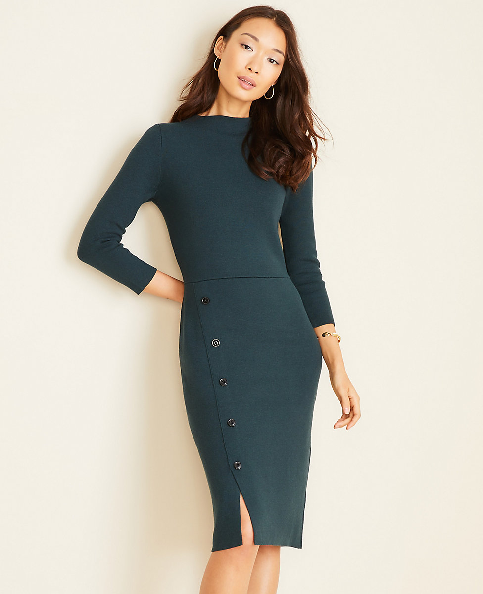 Button Trim Sweater Sheath Dress