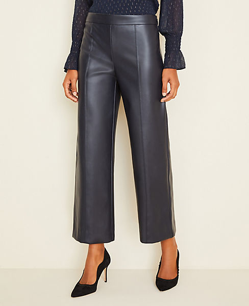 Faux Leather Wide Leg Crop Pants