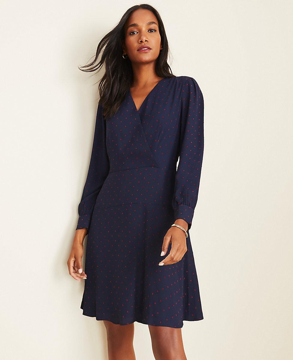 Velvet Dot Seamed Wrap Dress
