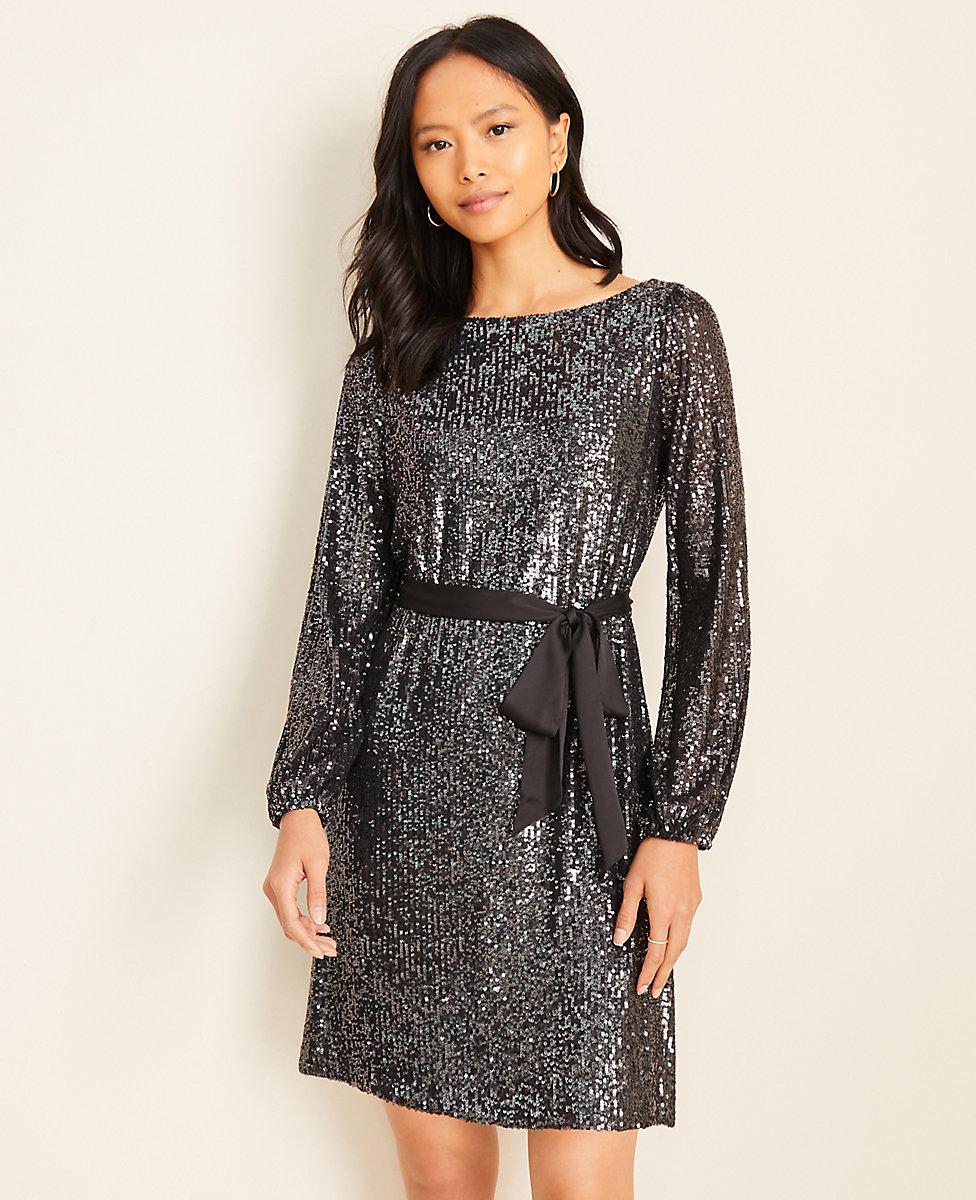Belted Sequin Dress