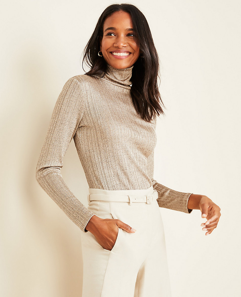 Shimmer Ribbed Turtleneck Top