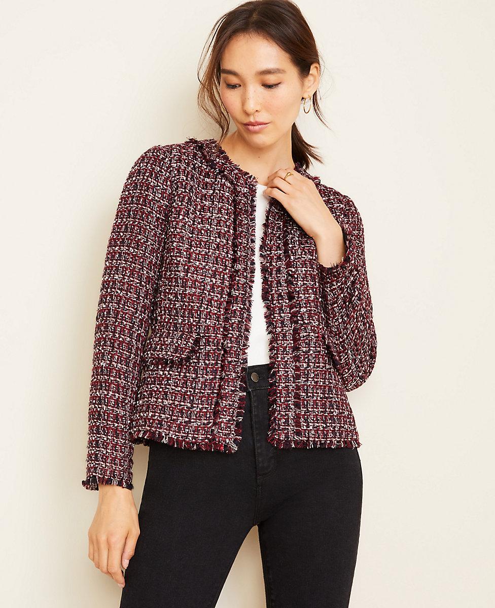 Petite Fringe Tweed Jacket | Ann Taylor