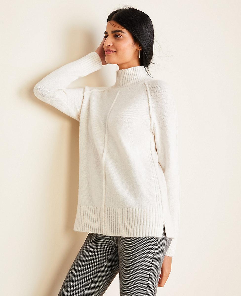Seamed Turtleneck Tunic Sweater