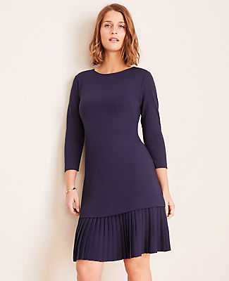 Ponte Pleated Hem Shift Dress