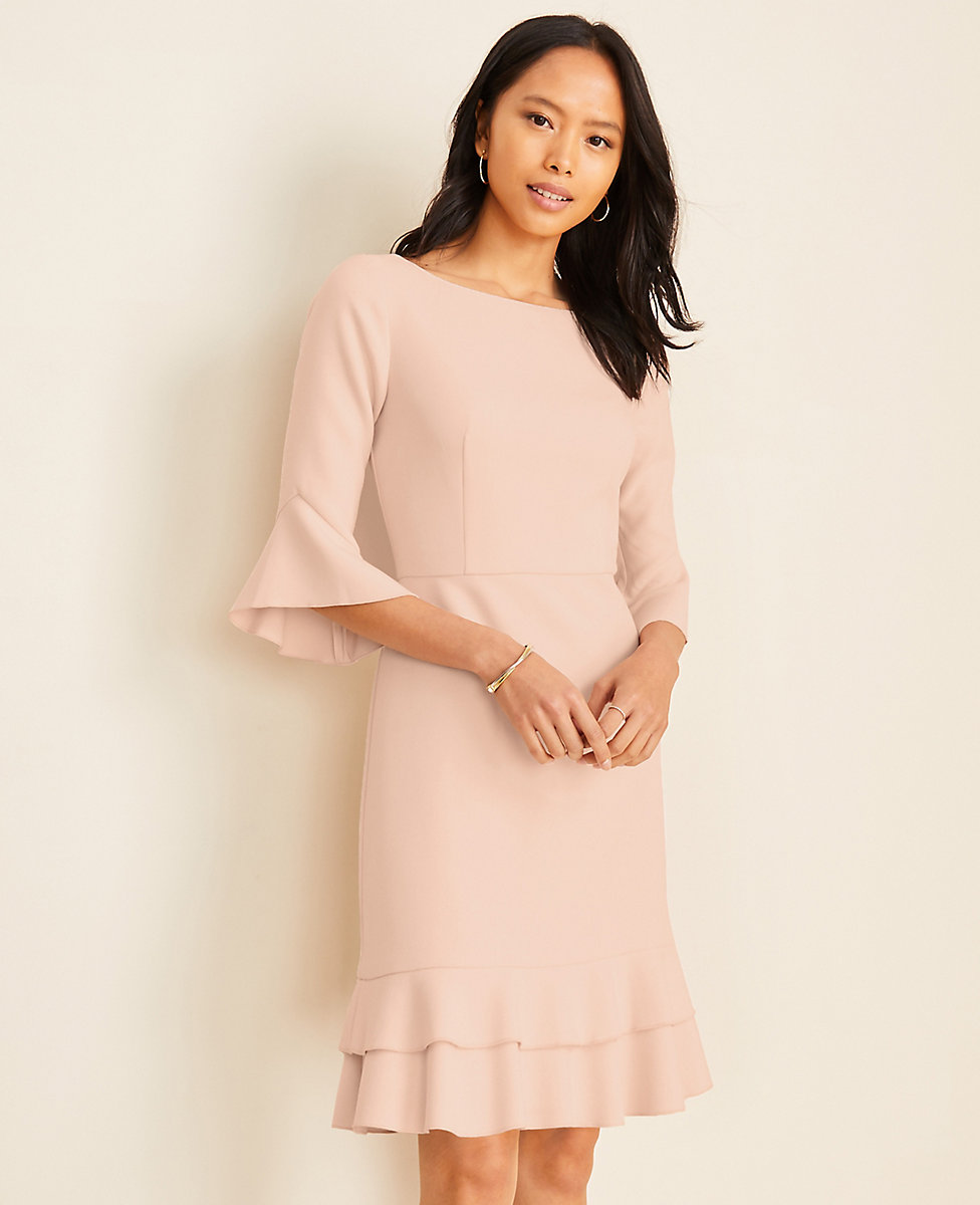Doubleweave Flounce Sheath Dress
