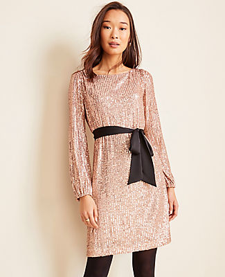 Ann Taylor SATIN BELTED SEQUIN SHIFT DRESS