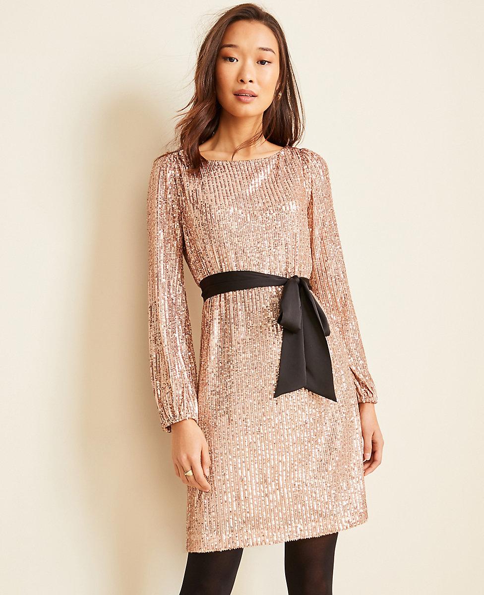 Satin Belted Sequin Shift Dress