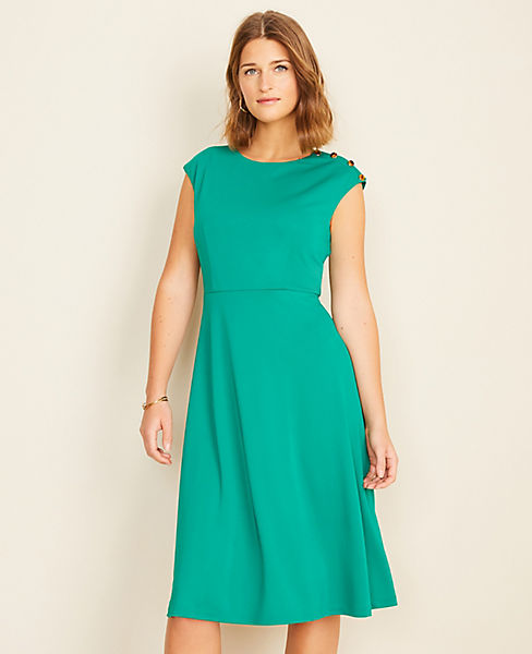 Shoulder Button Matte Jersey Flare Dress