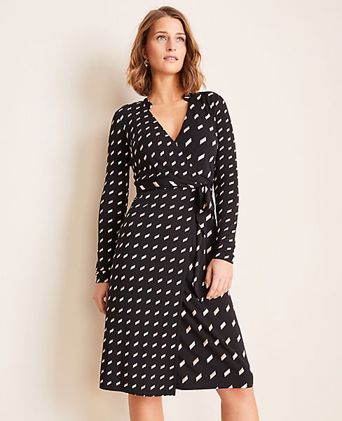 Geo Striped Matte Jersey Wrap Dress