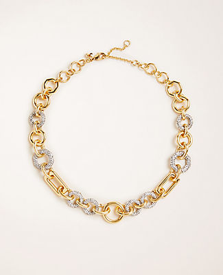 Geo Link Pave Statement Necklace
