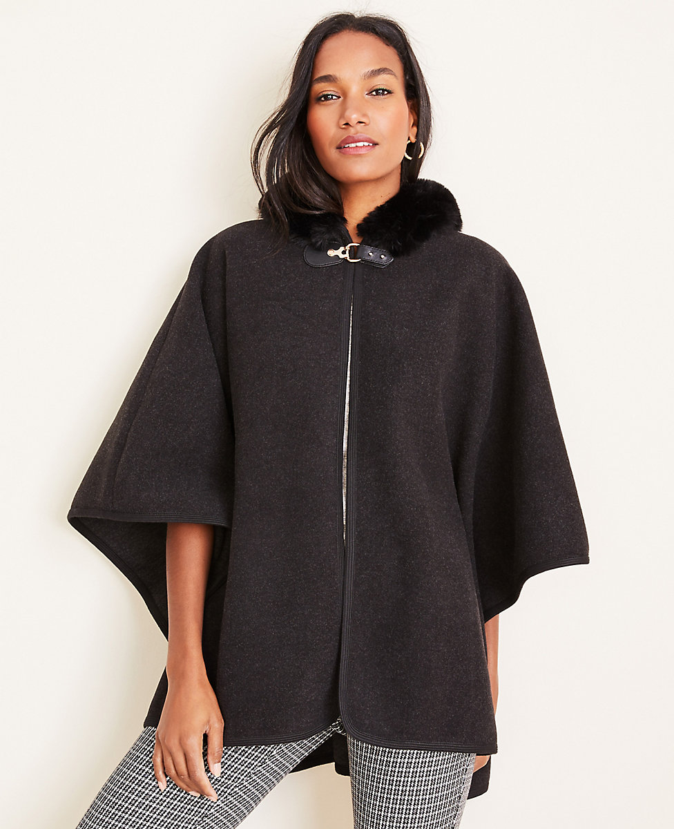 Faux Fur Hooded Poncho Cape
