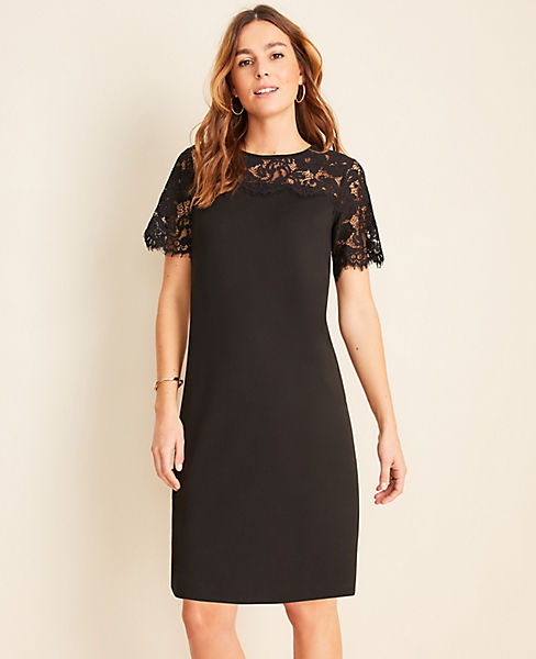 Scalloped Lace Yoke Shift Dress