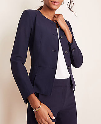 Ann Taylor THE TALL PLEATED CREWNECK JACKET IN SEASONLESS STRETCH