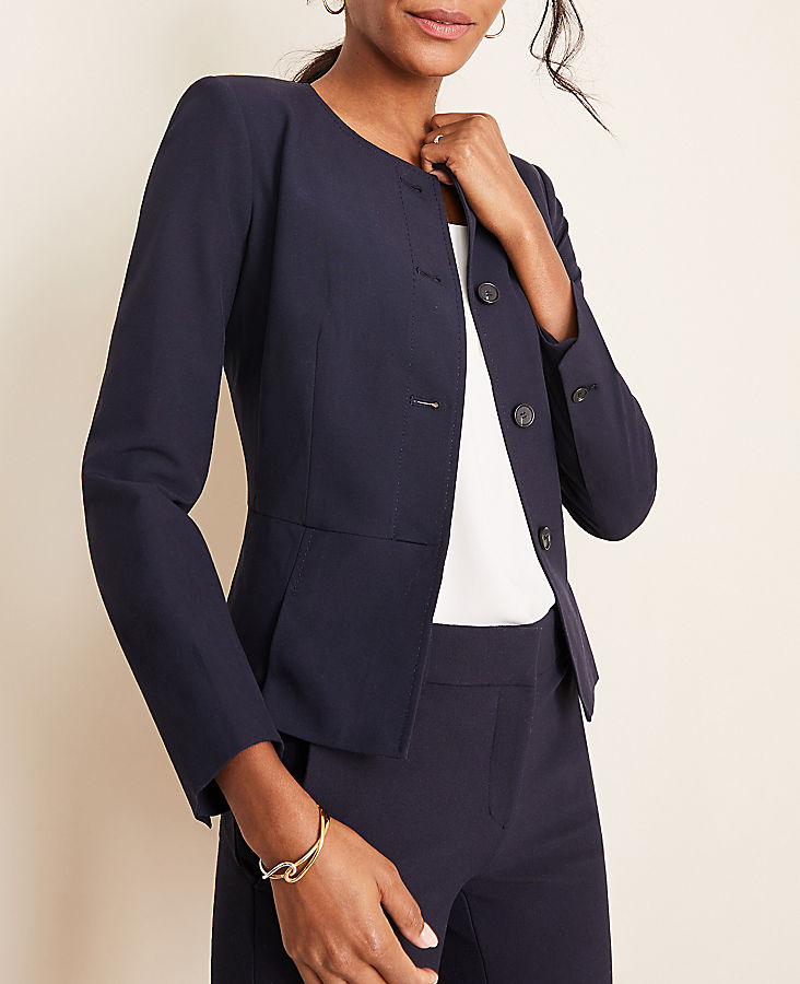 Anntaylor The Petite Pleated Crewneck Jacket in Seasonless Stretch
