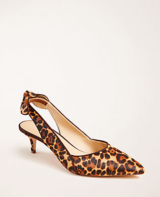 Lead the style pack with our leopard print haircalf pumps, cinched with a bow-topped slingback. Pointy toe. Padded footbed for complete comfort. Covered 2\