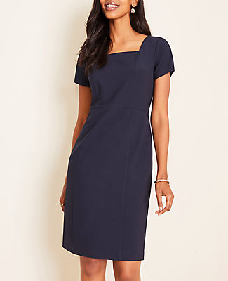 In flattering seasonless stretch, our refined sheath dress is expertly seamed for flattering definition. Square neck. Short sleeves. Hidden back zipper with hook-and-eye closure. Back vent. Lined body.