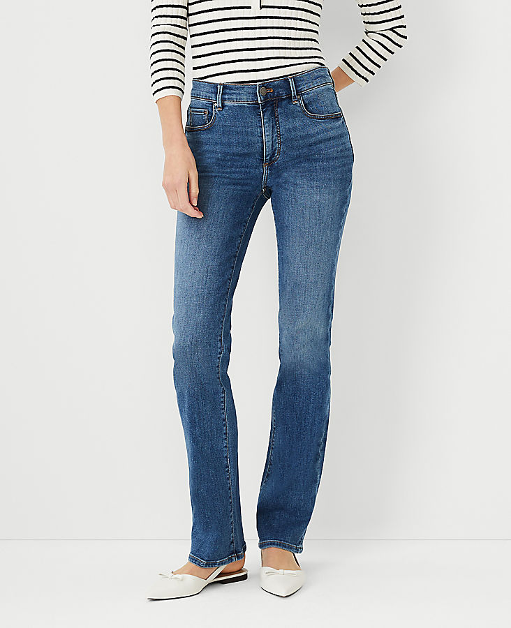 Anntaylor Curvy Sculpting Pocket Boot Cut Jeans in Mid Stone Wash
