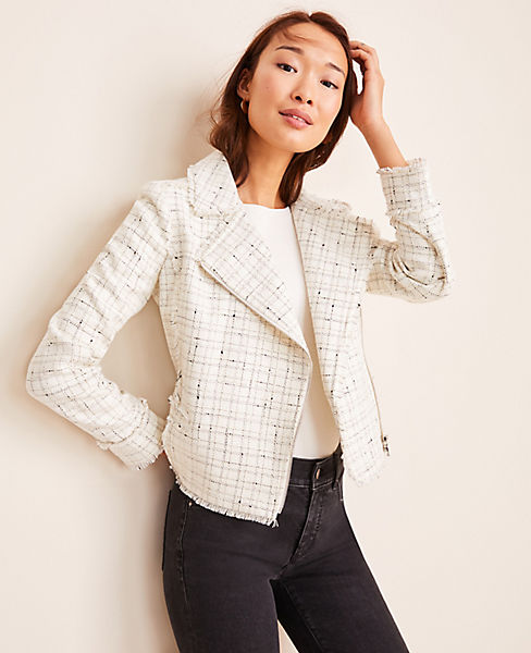 Fringe Tweed Moto Jacket