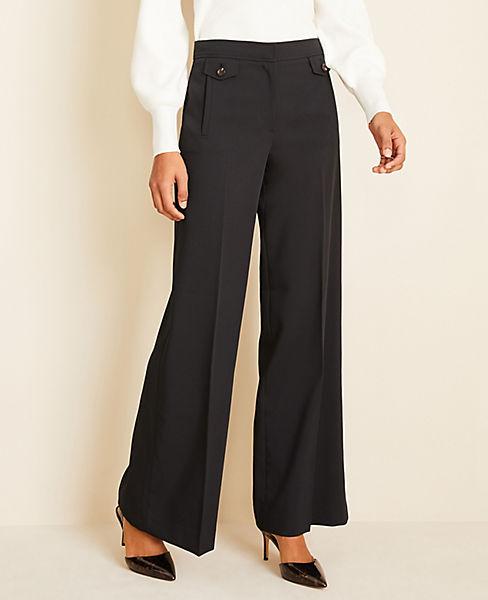 Button Trim Wide Leg Pants