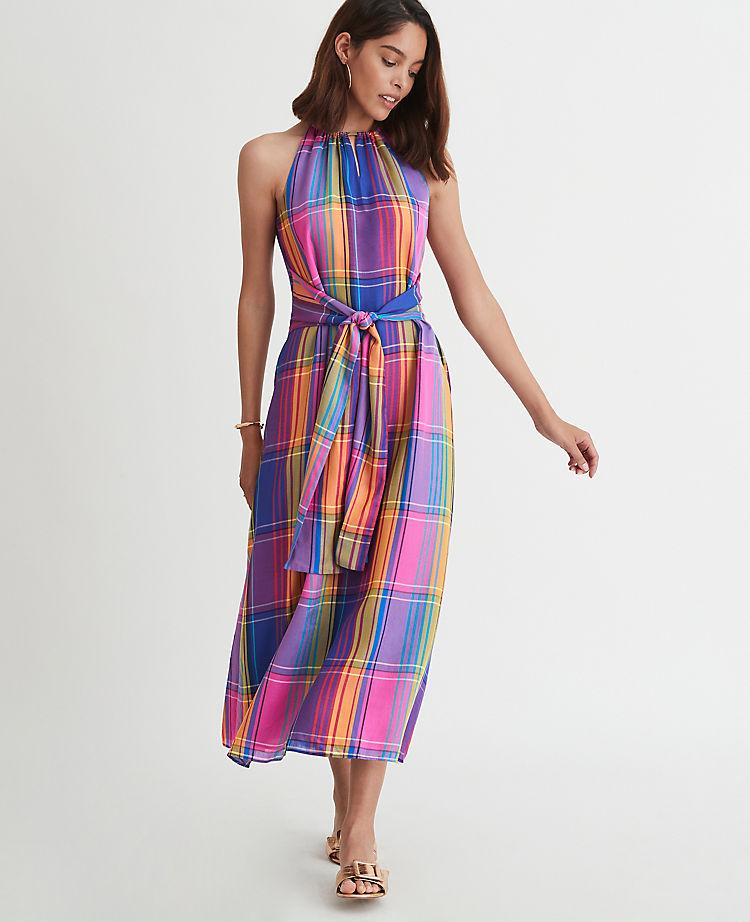 Madras Plaid Belted Halter Dress