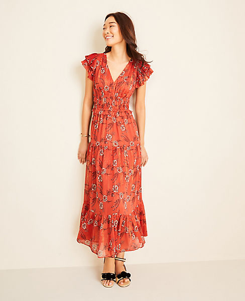 Shimmer Floral Flutter Sleeve Maxi Dress