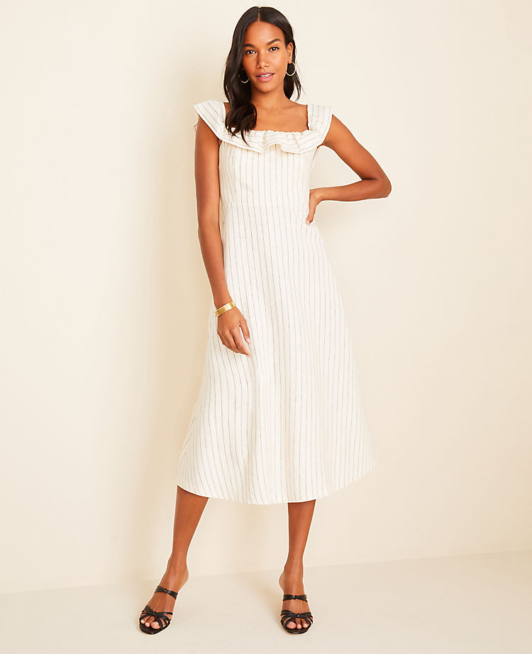 Pinstripe Ruffle Flare Dress