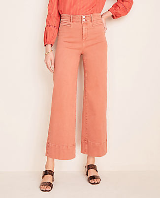 On the go or off-duty, these wide leg crop jeans are the solution to modern ease. Front zip with double button closure. Belt loops. Front welt pockets. Back patch pockets. Ann Taylor Wide Leg Crop Jeans