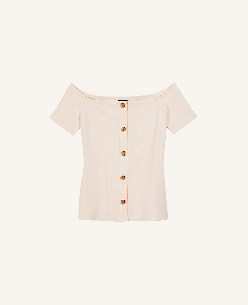 Ribbed Button Off The Shoulder Top