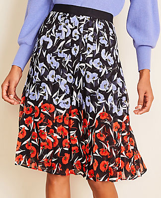 Petite Multicolored Poppy Pleated Skirt