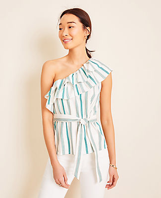 Topped with an asymmetric ruffle, our striped one shoulder top is made for warm days and cool nights. Elasticized one shoulder neckline. Self tie belt. Ann Taylor Striped Ruffle One Shoulder Top