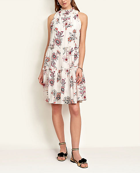 Paisley Floral Ruffle Shift Dress