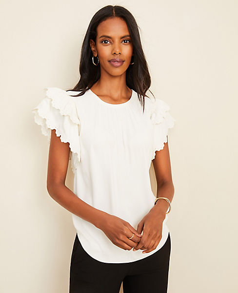 Embroidered Ruffle Sleeve Tee