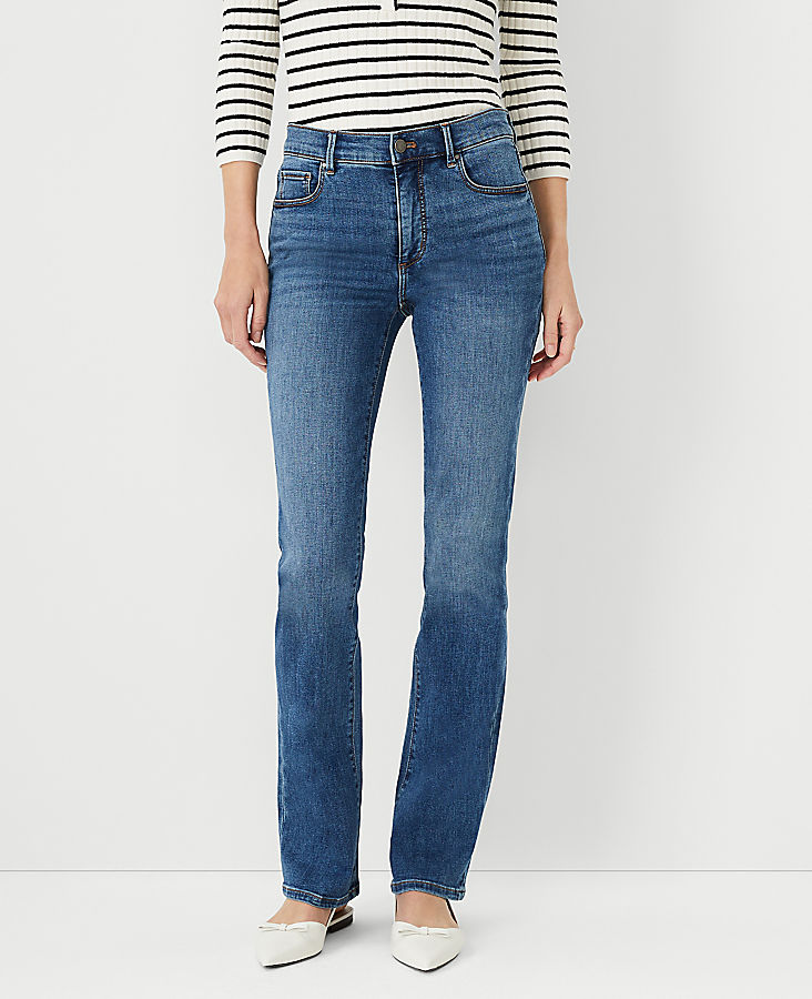 Anntaylor Petite Sculpting Pocket Boot Cut Jeans in Mid Stone Wash