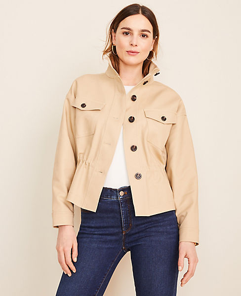 Drawstring Stand Collar Jacket