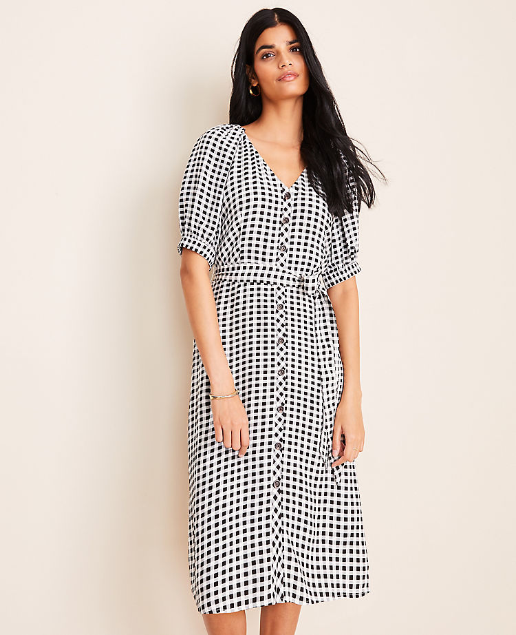Gingham Belted Shirtdress