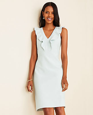 Luxe and endlessly versatile, our rich doubleweave stays polished from boarding call to boardroom. V-neck. Sleeveless. Cascading ruffle front. Hidden back zipper with hook-and-eye closure. Lined.