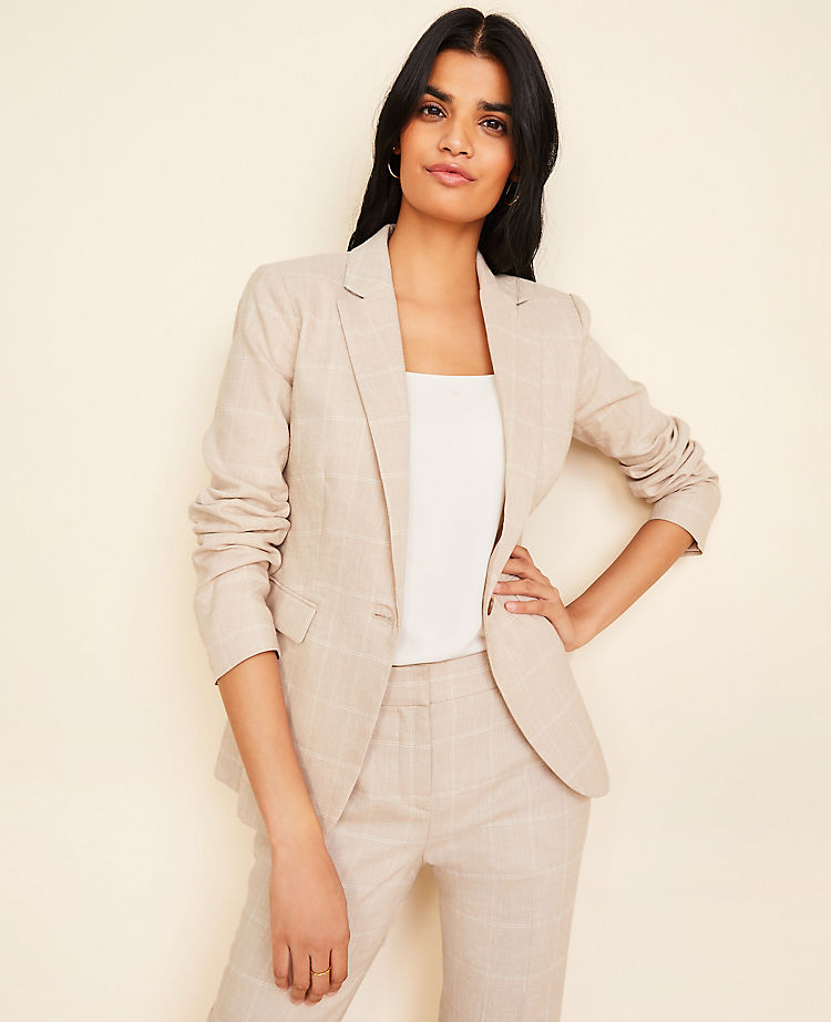 The One-Button Blazer in Windowpane Linen Twill