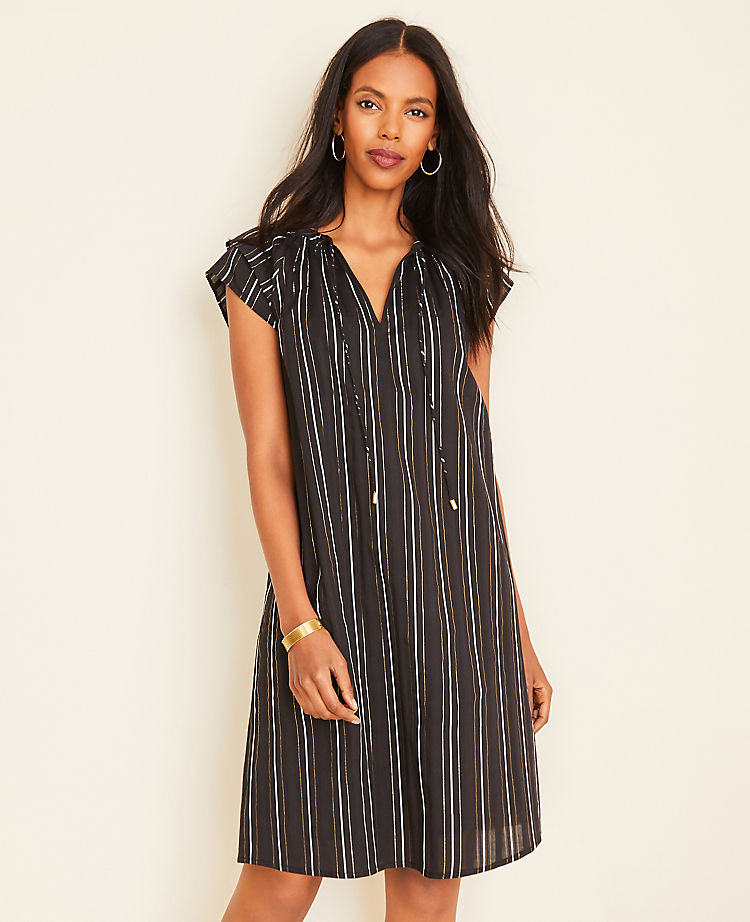 Metallic Stripe Tie Neck Shift Dress