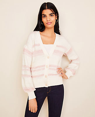 Wrapping you in cozy comfort, our striped boyfriend cardigan is a layer to love. V-neck. Long sleeves. Button front. Drop shoulders with shirring beneath. Ribbed cuffs and hem. Ann Taylor Striped Boyfriend Cardigan