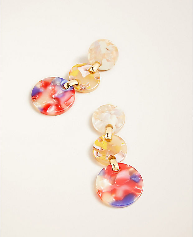 Multicolored Tortoiseshell Print Drop Earrings