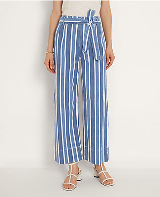 Topped with a belted pleat waist, our striped wide leg jeans are always first in line. Front zip with button closure. Belt loops. Self tie belt. Back patch pockets. Ann Taylor Stripe Belted Wide Leg Jeans in Bright Indigo Wash