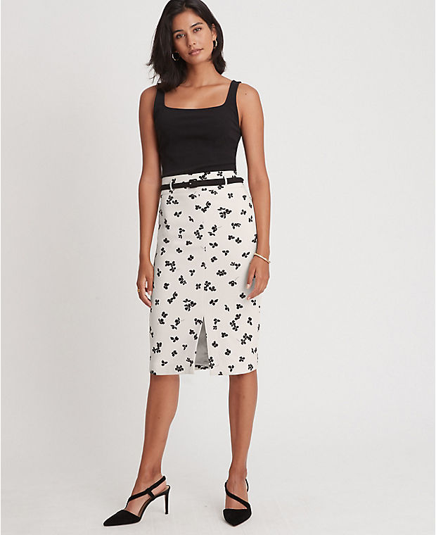 앤테일러 플로럴 벨티드 펜슬 스커트 Ann Taylor Floral Belted Pencil Skirt,Smooth Stone
