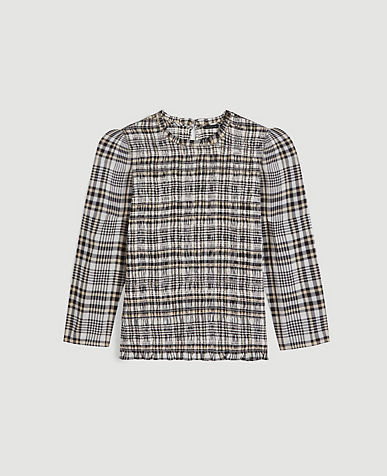 Plaid Smocked Puff Sleeve Top