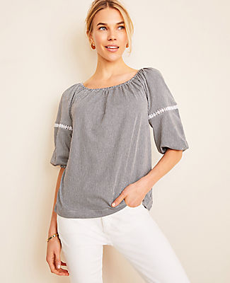 Lined up in fine stripes and feminine lace trim, this lantern sleeve top can be worn on or off your shoulders - for two looks in one. Elasticized square neck. Elbow raglan sleeves with elasticized cuffs. Ann Taylor Petite Striped Lace Trim Lantern Sleeve Top