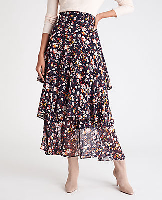 In a flattering maxi length, this chiffon skirt is flounced with curved tiers of feminine ruffles. Curved front yoke. Hidden back zipper with hook-and-eye closure. Lined. Ann Taylor Flounce Maxi Skirt