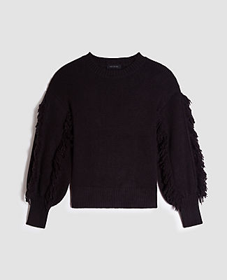 Embellished with fringed sleeves, our crew sweater takes your look above the fray. Crew neck. Long sleeves. Drop shoulders. Ribbed neckline, cuffs and hem. Ann Taylor Fringe Sleeve Sweater