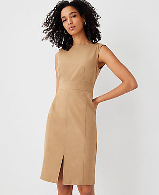 Ann Taylor The Topstitched Front Slit Sheath Dress In Deep Fawn